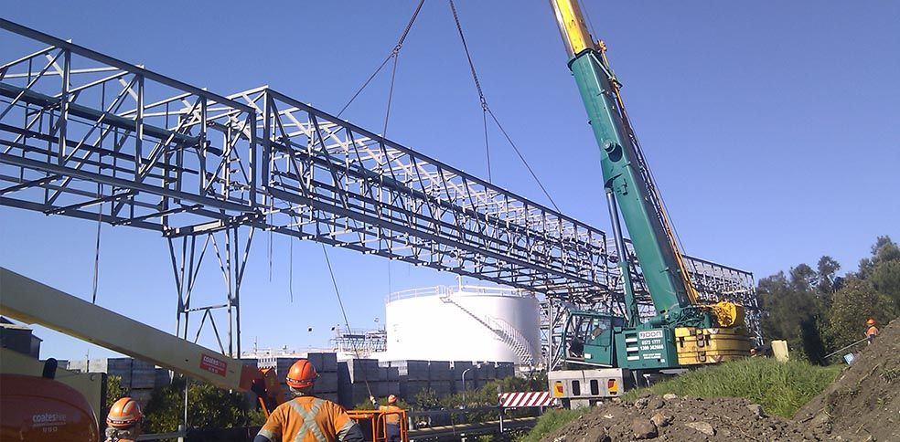 Demolition of redundant Gantry sections at Orica Port Kembla.