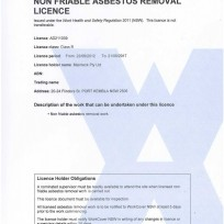 Bonded asbestos licence 2012