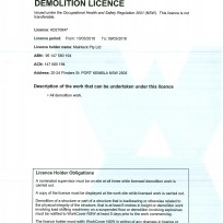 Demolition licence 2018 - pty ltd