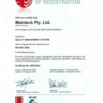 Quality cert mainteck pty ltd exp feb 2018
